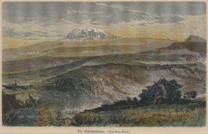 Geiltbeck: Mount Kilimanjaro, Tanzania. 1897. A hand coloured original antique wood-engraving. 8 x 5 inches. [AFRp1161]