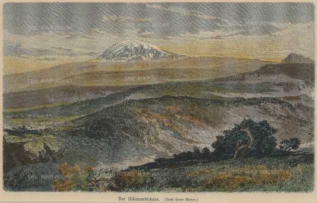 Geiltbeck: Mount Kilimanjaro, Tanzania. 1897. A hand coloured original antique wood-engraving. 8 x 5 inches. [AFRp1161]
