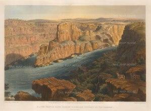 Zambesi: The Profile Cliff, Narrow Gorge and Torrent of the Zambesi. Panoramic view.