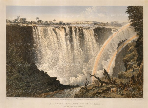 "Baines: Victoria Falls, Zambia and Zimbabwe. 1865. An original antique chromolithograph. 17"" x 13"" [AFRp1192]"