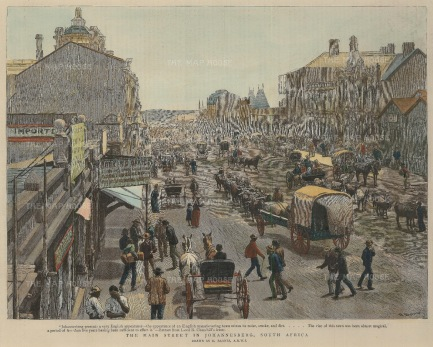 "Graphic Magazine: Johannesberg. 1891. A hand coloured original antique wood engraving. 12"" x 10"". [AFRp1219]"