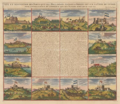 European Forts in Congo: Twelve views of Dutch, English and Danish Forts. With text in French.