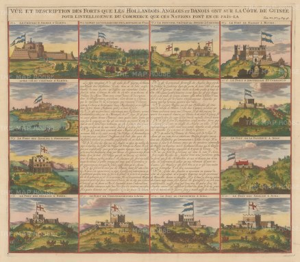 "Chatelain: Factories in Congo. 1719. A hand coloured original antique copper engraving. 17"" x 14"". [AFRp1240]"