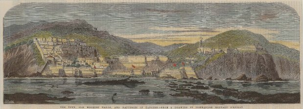 """Illustrated London News: Tangier, Morroco. 1859. A hand coloured original antique wood engraving. 14"""" x 5 """". [AFRp1267]"""
