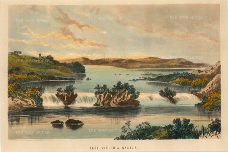 "Anon: Lake Victoria. 1870. A hand-coloured original antique lithograph. 9"" x 6"". [AFRp1283]"