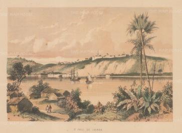 """Anon: St Paul de Loanda, Angola. c1880. A hand coloured original antique lithograph. 9"""" x 7"""". [AFRp1293]"""