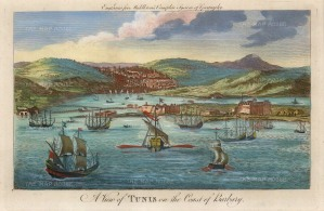 "Millar: Tunis. c1780. A hand coloured original antique copper engraving. 12"" x 8"". [AFRp1309]"