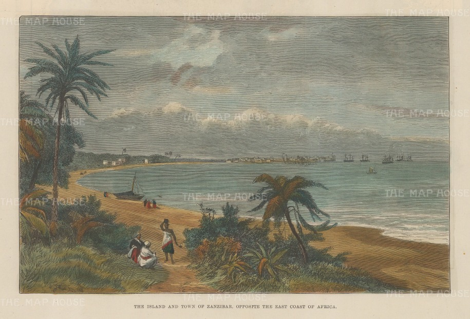 "Illustrated London News: Zanzibar. 1889. A hand coloured original antique wood engraving. 10"" x 7"". [AFRp1337]"