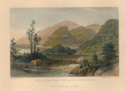 "Goodall: Great Fish River. c.1840. A hand coloured original antique steel engraving. 5"" x 3"". [AFRp1338]"