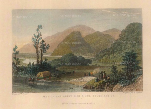 """Goodall: Great Fish River. c.1840. A hand-coloured original antique steel-engraving. 5"""" x 3"""". [AFRp1338]"""