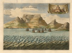 Cape of Good Hope: Panorama with vignette of the Dutch fortress. Key in Dutch and French.