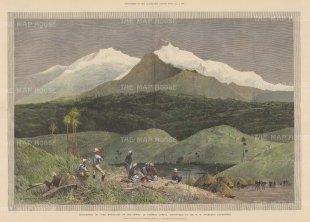 "Illustrated London News: Ruwenzori Mountains, Uganda. 1890. A hand coloured original antique wood engraving. 21"" x 14"". [AFRp1373]"