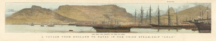 Panorama of Cape Town, Table Mountain and Table Bay Docks from the voyage from England to Natal aboard the Union Steam-ship 'Arab'.