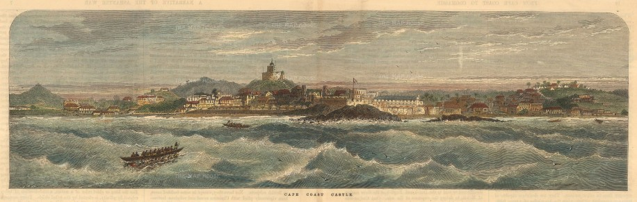 Ghana: Panoramic view of Cape Coast Castle, Gulf of Guinea.