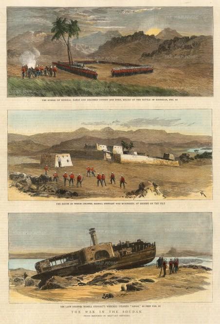 "The Graphic Magazine: Sudan. 1885. A hand-coloured original antique wood-engraving. 10"" x 13"". [AFRp1376]"