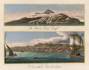 "Sherwood, Neely & Jones: St. Crois, Tenerife. 1810. A hand coloured original antique copper engraving. 7"" x 5"". [AFRp1384]"
