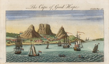 "London Magazine: Cape Town. 1754. A hand-coloured original copper-engraving. 6"" x 5"". [AFRp1385]"