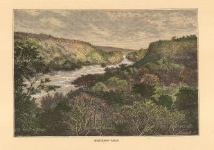 "Reclus: Murchinson Falls, Uganda. 1894. A hand coloured original antique wood engraving. 8"" x 6"". [AFRp1386]"
