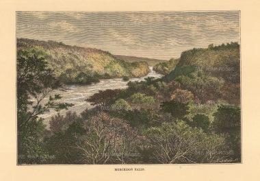 "Reclus: Murchinson Falls, Uganda. 1894. A hand coloured original antique wood-engraving. 8"" x 6"". [AFRp1386]"