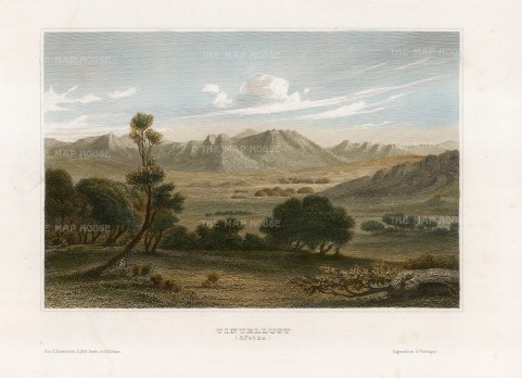 "Sherwood, Neely & Jones: Tintelust, Niger. 1836. A hand coloured original antique steel engraving. 7"" x 5"". [AFRp1387]"