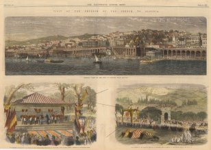 "The Illustrated London News: Algiers, Algeria. 1865. A hand-coloured original antique wood-engraving. 21"" x 8"". [AFRp1389]"