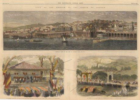 "The Illustrated London News: Algiers, Algeria. 1865. A hand-coloured original antique wood-engraving. 21"" x 8"". [AFRp1389]"