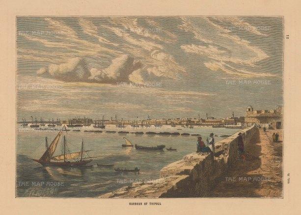 "Collins: Tripoli, Libya. Circa 1880. A hand coloured original antique wood engraving. 8 ""x 5"". [AFRp1391]"