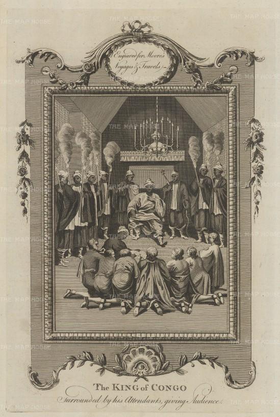 """Moore: King of Congo. 1778. An original antique copper engraving. 7"""" x 11"""". [AFRp1396]"""