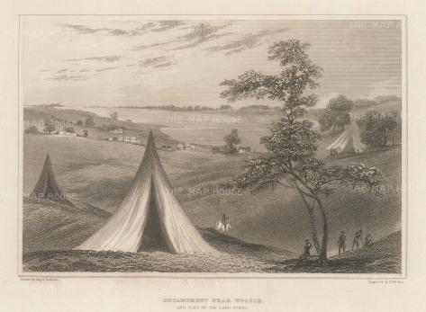 """Denham: Lake Chad, Chad. 1826. An original antique steel engraving. 8"""" x 6"""". [AFRp1401]"""