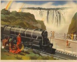 Victoria Falls, Zimbabwe: View of the Railway, Bridge and Falls.