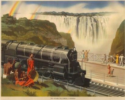 "Packham: Victoria Falls Bridge, Tanzania. 1940. An original vintage chromo-lithograph. 19"" x 15"". [AFRp570]"