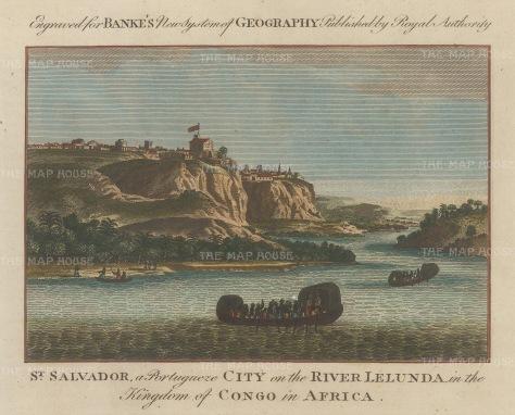 "Bankes: St. Salvador on the Lelunda, Congo. c1780. A hand coloured original antique copper engraving. 8"" x 6"". [AFRp868]"