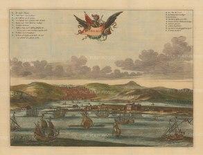 "Dapper: Tunis. c1700. A hand coloured original antique copper engraving. 15"" 11"". [AFRp898]"