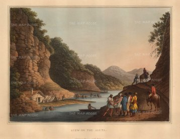 Mayer: Olt River, Bulgaria. An original coloured aquatint. 13 x 9 inches. [CEUp124]