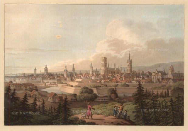 "Bartlett: Belgrade, Serbia. 1840. A hand coloured original antique steel engraving. 8"" x 5"". [CEUp216]"
