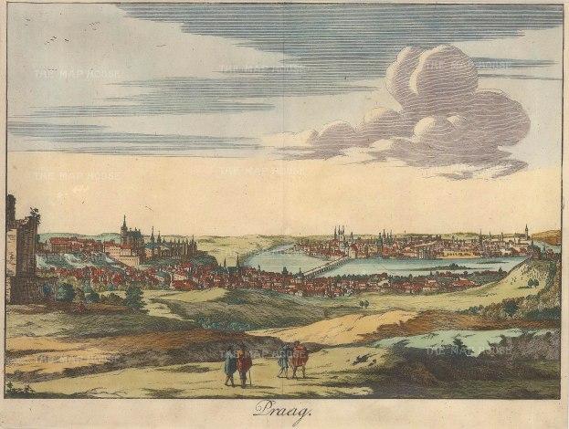 """Anonymous: Prague, Czech Republic. c1750. A hand coloured original antique copper engraving. 11"""" x 8"""". [CEUp240]"""