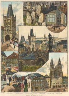 "Illustrated London News: Prague, Czech Republic. 1890. A hand coloured original antique wood engraving. 10"" x 13"". [CEUp299]"