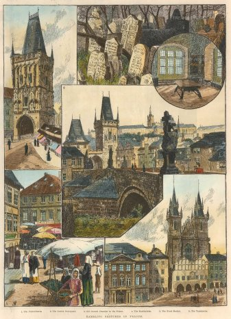 The Illustrated London News: Prague, Czech Republic. 1890. A hand-coloured original wood-engraving. 10 x 13 inches. [CEUp299]