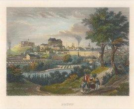Meyer: Brno, Czech Republic. Circa 1830. A hand-coloured original antique steel-engraving. 7 x 6 inches. [CEUp389]