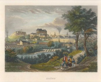 Meyer: Brno, Czech Republic. Circa 1830. A hand-coloured original antique steel-engraving. 7 x 6 inches. [CEUp389]