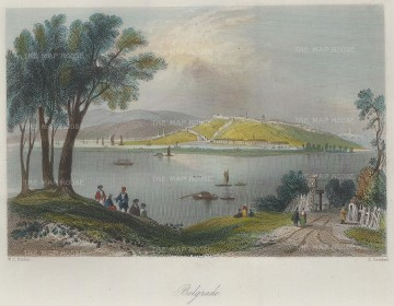 Bartlett: Belgrade, Serbia. A hand-coloured original antique steel-engraving. 8 x 6 inches. [CEUp398]