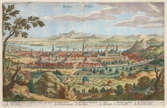 Merian: Budapest, Hungary. Circa 1640. A hand-coloured original antique copper-engraving. 13 x 9 inches. [CEUp415]