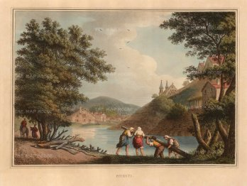 "Mayer: Pitesti, Romania. 1810. A hand coloured original antique aquatint. 14"" x 11"". [CEUp471]"