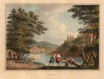 Mayer: Pitesti, Romania. 1810. A hand-coloured original antique aquatint. 14 x 11 inches. [CEUp471]
