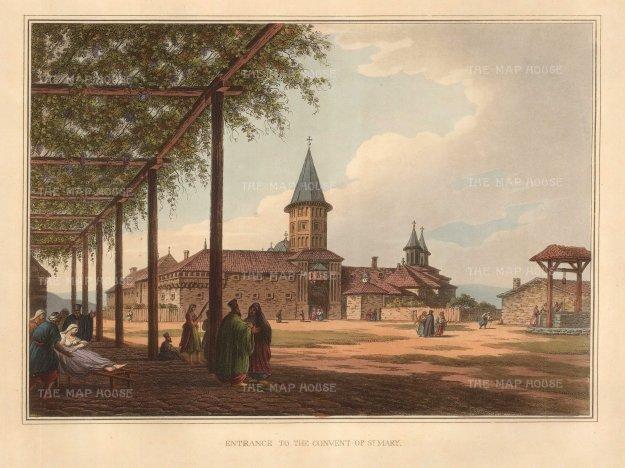 "Mayer: St. Mary's Convent, Romania. 1810. An original coloured antique aquatint. 14"" x 11"". [CEUp475]"