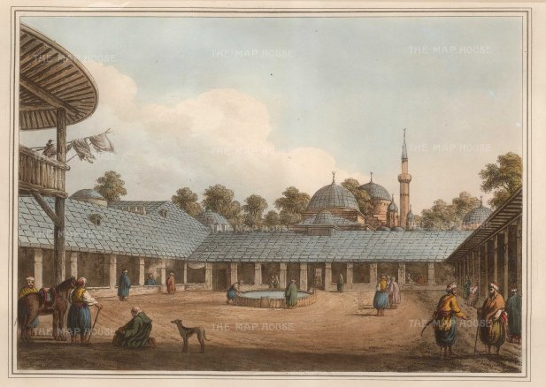 "Mayer: Borgas, Bulgaria. 1810. An original coloured antique aquatint. 14"" x 11"". [CEUp476]"
