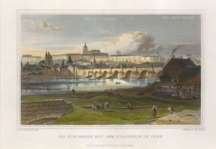 "Lange: Prague, Czech Republic. c1830. A hand coloured original antique steel engraving. 8"" x 6"". [CEUp484]"