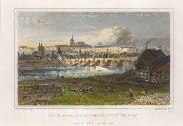 Lange: Prague, Czech Republic. Circa 1830. A hand-coloured original steel-engraving. 8 x 6 inches. [CEUp484]