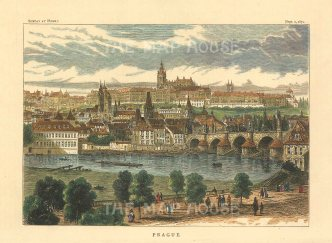"Illustrated London News: Prague, Czech Republic. 1870. A hand coloured original antique wood engraving. 7"" x 5"". [CEUp499]"