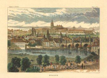 "Illustrated London News: Prague, Czech Republic. 1870. A hand coloured original antique wood engraving. 7"" x 5"". [CEUp499]"